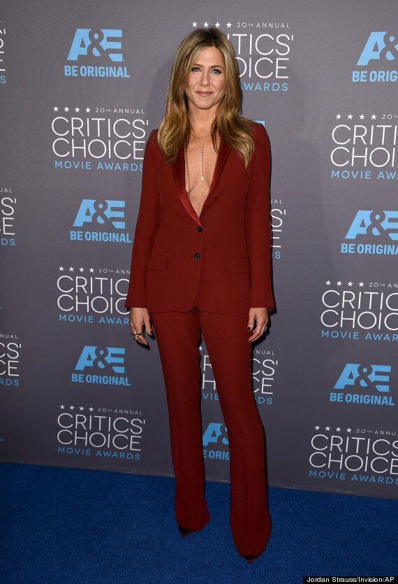Jennifer Aniston Upstages Angelina Jolie In Revealing Trouser Suit As Both Actresses Attend The Critics'...