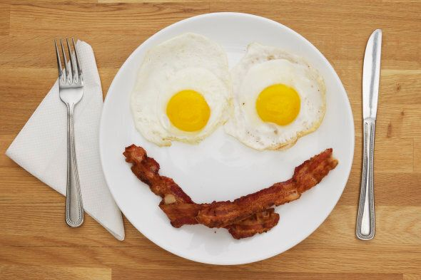Bacon and Eggs shaped as a face