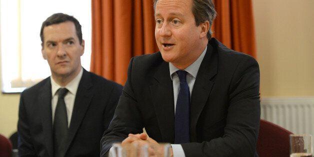 EASTBOURNE, UNITED KINGDOM - AUGUST 1: Prime Minister David Cameron and Chancellor George Osborne meet...