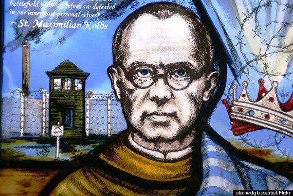 Kolbe, who was made a Christian saint in 1982, is pictured on a church