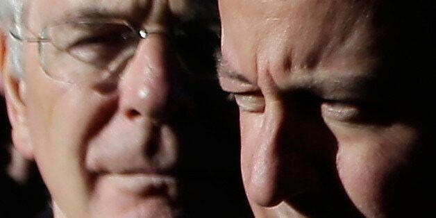 LONDON, UNITED KINGDOM - NOVEMBER 10: Former British Prime Minister Sir John Major and current British...