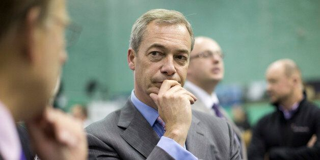 Ukip leader Nigel Farage speaks to the media before the announcement of the final result at the Rochester...