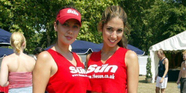 Leilani, glamour model, joins sister Mel and friends at the Sun Footie Festival fundraiser held on Clapham...