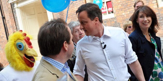 Cameron confronted by the Daily Mirror's chicken, not one from Nandos, during the 2010