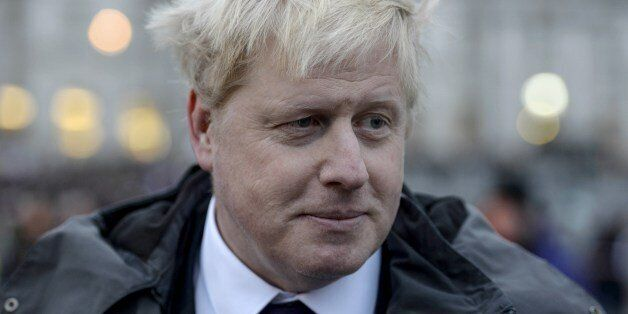 London Mayor Boris Johnson attends a rally in Trafalgar Square in central London on January 11, 2015...