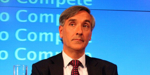 John Redwood MP looks on as Shadow Chancellor of the Exchequer, George Osborne comments on the Economic...
