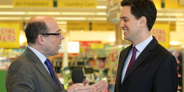 Labour leader Ed Miliband speaks with BBC News political editor Nick Robinson during a visit to Morrisons...