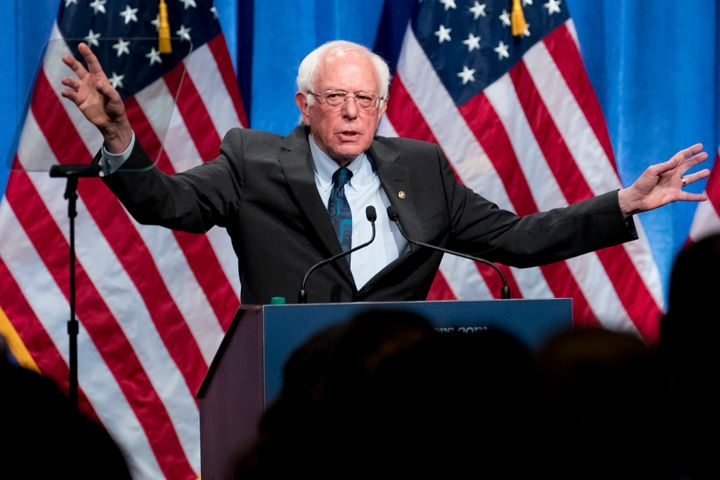 "Sen. Bernie Sanders (I-Vt.), speaks about ""democratic socialism"" in Washington on Wednesday. The speech gave him the chance t"