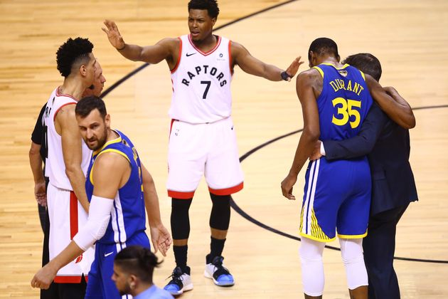 Kyle Lowry Toronto Raptors tells the crowd to stop cheering after Kevin Durant injures himself at Scotiabank...