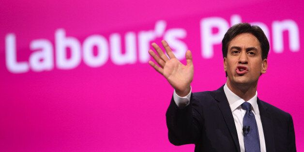 Ed Miliband, leader of the U.K. opposition Labour Party, gestures as he addresses delegates at the party's...