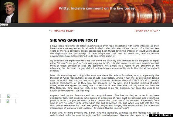 Rape Blog By Barrister David Osborne Condemned As 'Deeply