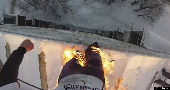Man Jumps Off Building While On Fire, With