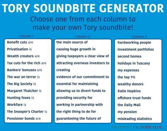 The Tory Soundbite Generator Creates Every Conservative Quote You'll Ever