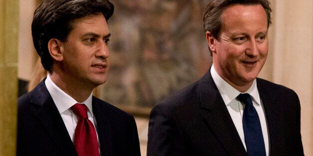 LONDON, ENGLAND - JUNE 04: (L-R) Leader of the Labour Party Ed Miliband and British Prime Minister David...
