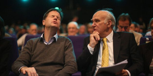 GLASGOW, SCOTLAND - OCTOBER 06: Deputy Prime Minister Nick Clegg (L) and Business secretary Vince Cable...