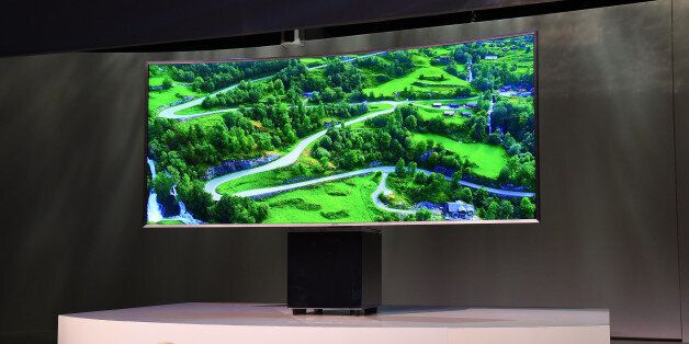 LAS VEGAS, NV - JANUARY 05: The UN82S9W curved SUHD Smart television designed by Fuseproject Founder...