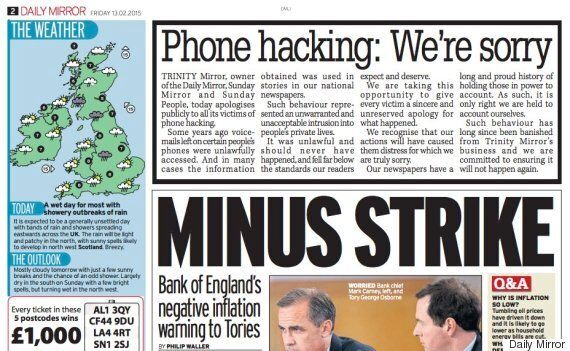 Daily Mirror Prints Apology For Phone Hacking: 'It Never Should Have
