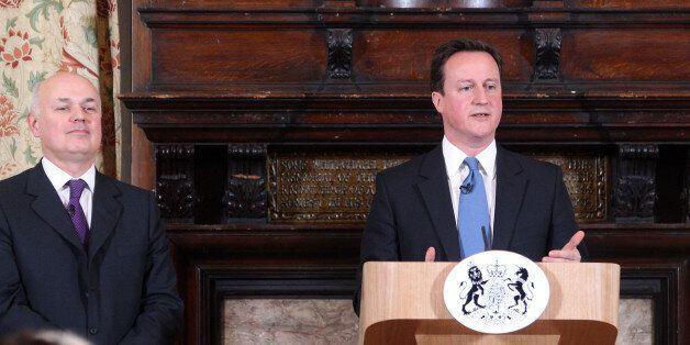 LONDON, UNITED KINGDOM - FEBRUARY 17: British Prime Minister David Cameron makes a speech on welfare...