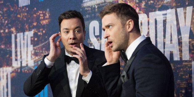 NEW YORK, NY - FEBRUARY 15: Jimmy Fallon (L) and Justin Timberlake attend the SNL 40th Anniversary Celebration...