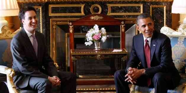 President Barack Obama meets with British opposition leader Ed Miliband at Buckingham Palace in London,...
