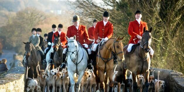 Riders meet for the Avon Vale Boxing Day Hunt on December 26, 2014 in Lacock, England. Boxing Day is...