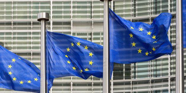 European Union flags outside