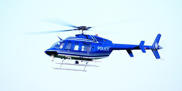 Photo, helicopter in flight, Police, Color, High