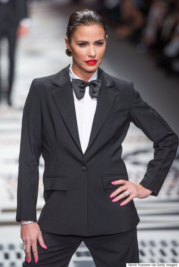 Katie Price Tries Androgynous New Look At Naomi Campbell's London Fashion Week Show With Black Tuxedo