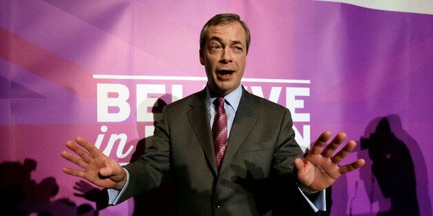 FILE - In this Thursday, Feb. 12, 2015 file photo, UK Independence Party (UKIP) leader Nigel Farage leaves...