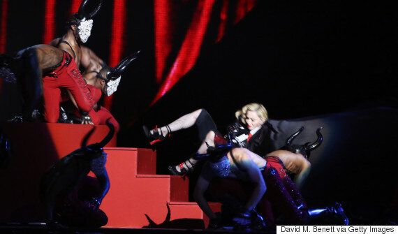 Madonna Falls On Stage During Brit Awards 2015 Performance Of 'Living For Love