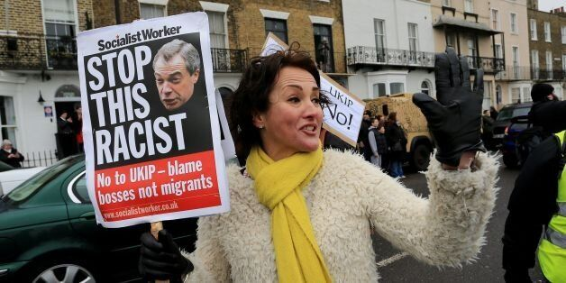 Anti-Ukip protestors gather outside the Ukip Spring Conference at the Winter Gardens Theatre in Margate,