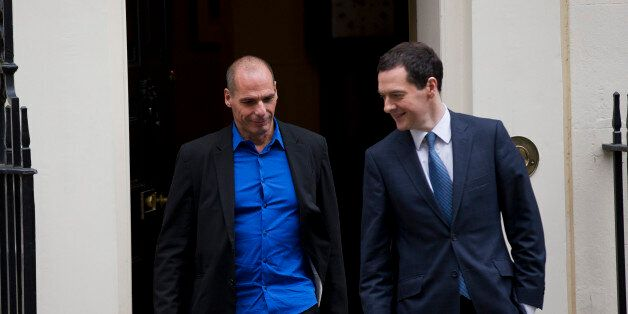 British Finance Minister George Osborne, right, walks out to bid farewell to Greece's new finance minister...