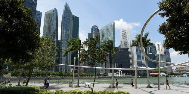 A general view of the financial business district in Singapore on February 23, 2015.