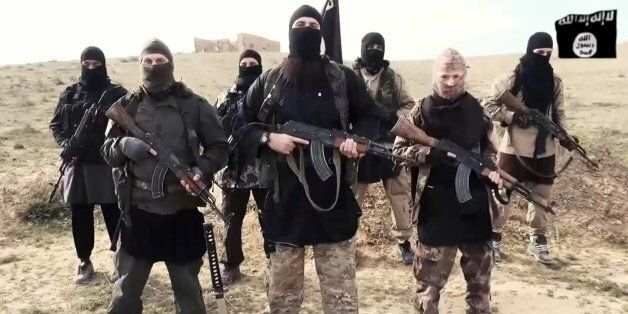 French fighters (or French speaking) of ISIS or Islamic State group or Daesh deliver a message to Francois...