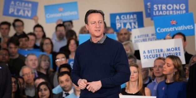 Prime Minister David Cameron addresses supporters and meets party members at a campaign event at the...