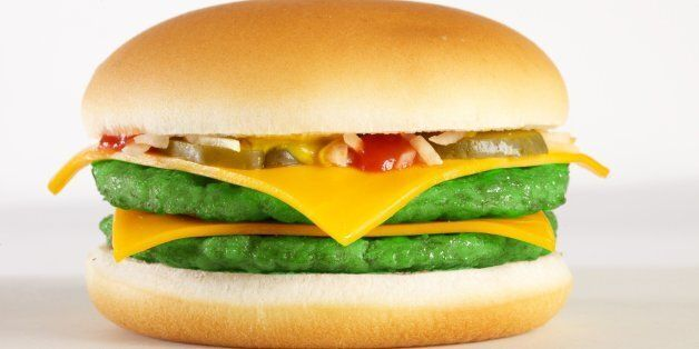 A HuffPost artist's rendition of what a Double McKale Burger might look like