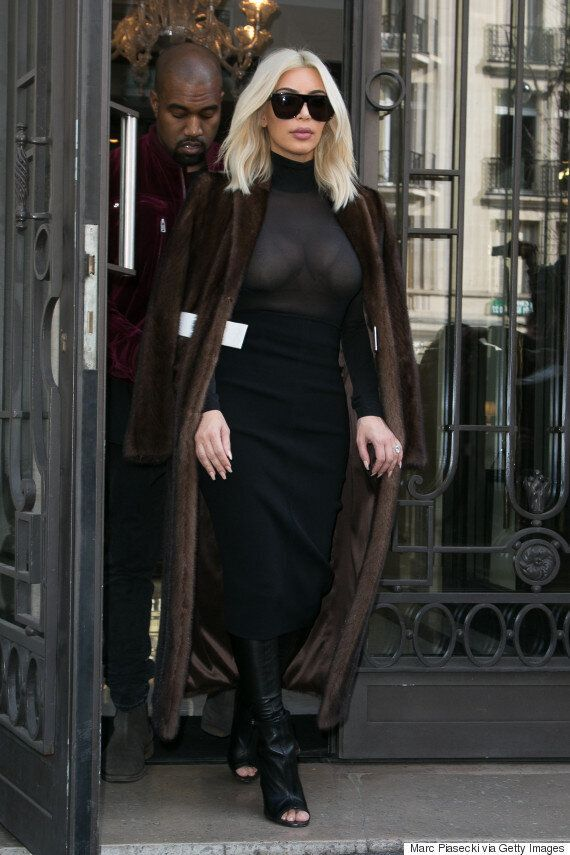 Kim Kardashian Leaves Little To The Imagination In Sheer Top In Paris
