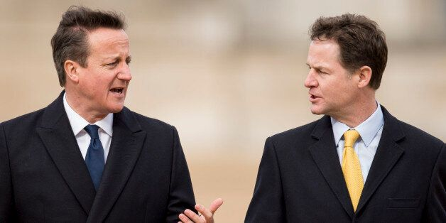 LONDON, ENGLAND - MARCH 03: David Cameron and Nick Clegg at a ceremonial welcome for the State Visit...