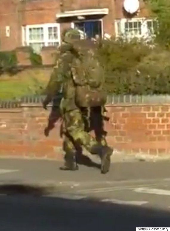 Norwich 'Gunman' In Fatigues Walking Casually Down Street Triggers Massive Police