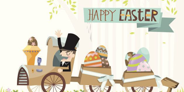 A costumed man celebrates Easter day delivering eggs in many different colors and