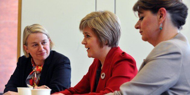 First Minister of Scotland Nicola Sturgeon (centre) during a meeting at Portculis House, central London,...