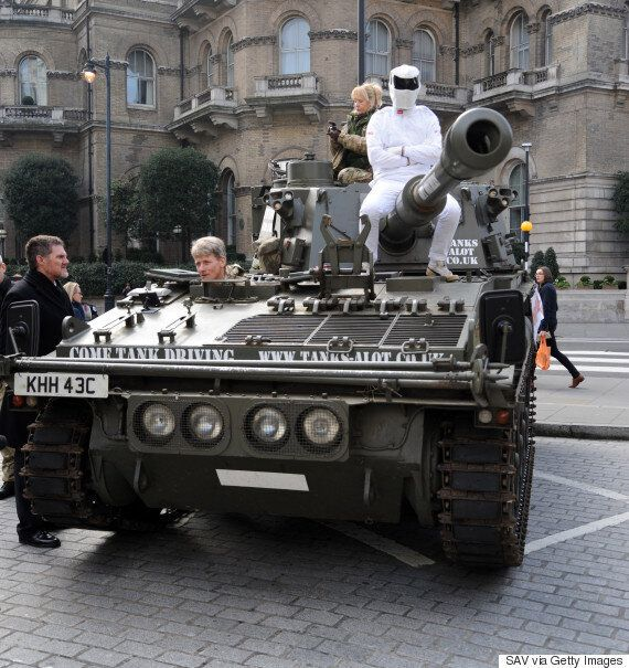 'Bring Back Jeremy Clarkson' Campaign Drives Tank And Fake 'Top Gear' Stig To BBC