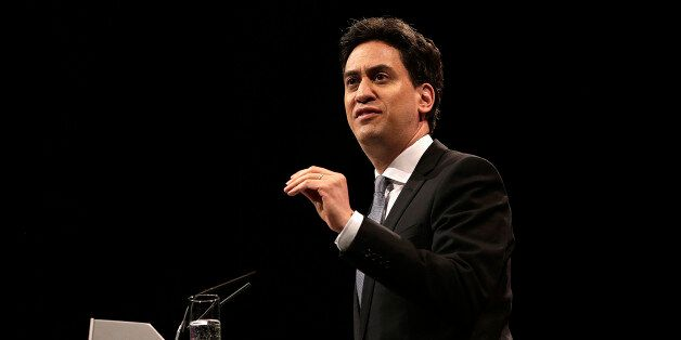 Ed Miliband, leader of the U.K. opposition Labour Party, gestures as he speaks during a one-day event...