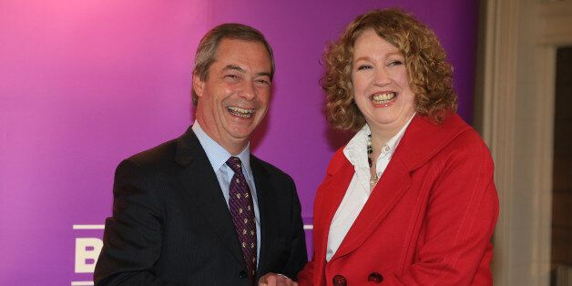Ukip leader Nigel Farage with Harriet Yeo who was today named as Ukip's new Folkestone and Hythe general...