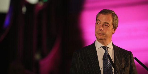 LONDON, ENGLAND - MARCH 17: United Kingdom Independence Party (UKIP) leader Nigel Farage addresses attendees...