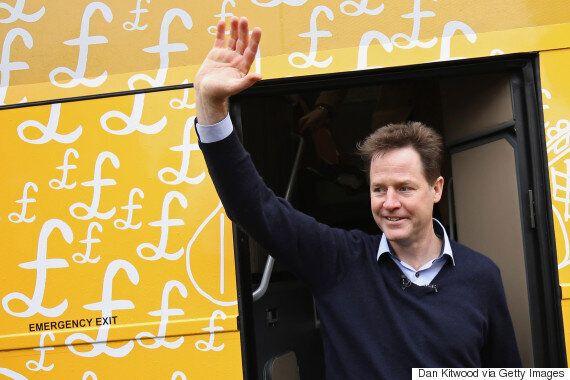 Nick Clegg's Liberal Democrat General Election Battle Bus Struggles With A Left