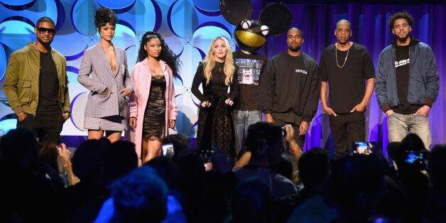 NEW YORK, NY - MARCH 30: (L-R) Usher, Rihanna, Nicki Minaj, Madonna, Deadmau5, Kanye West, JAY Z, and...