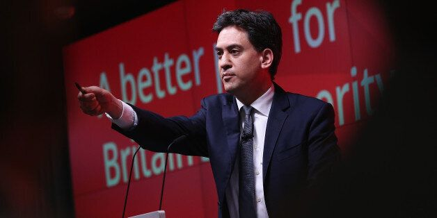 LONDON, ENGLAND - MARCH 30: Leader of the Labour party Ed Miliband addresses business leaders and members...