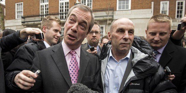 Leader of the United Kingdom Independence Party (UKIP), Nigel Farage speaks to members of the media after...
