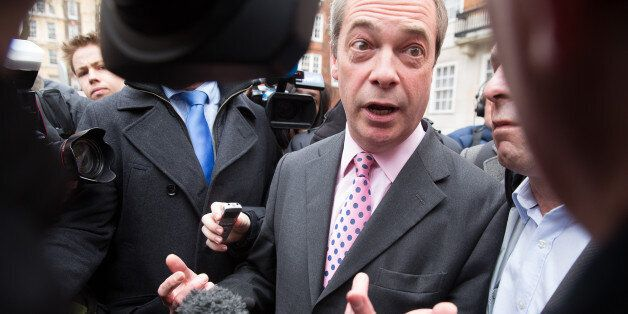 Nigel Farage kick starts his election campaign by launching a UKIP poster in central